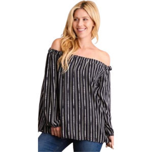 Off Shoulder Striped Swing Tunic Navy NWT - L